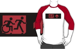 Accessible Means of Egress Icon Exit Sign Wheelchair Wheelie Running Man Symbol by Lee Wilson PWD Disability Emergency Evacuation Adult T-shirt 216