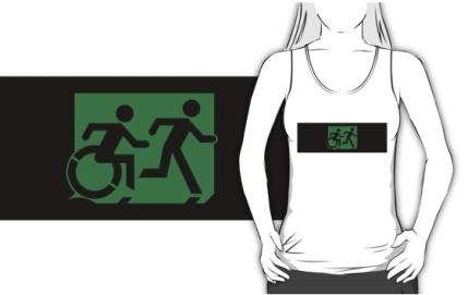 Accessible Means of Egress Icon Exit Sign Wheelchair Wheelie Running Man Symbol by Lee Wilson PWD Disability Emergency Evacuation Adult T-shirt 217