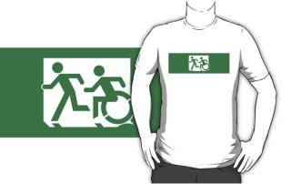 Accessible Means of Egress Icon Exit Sign Wheelchair Wheelie Running Man Symbol by Lee Wilson PWD Disability Emergency Evacuation Adult T-shirt 218