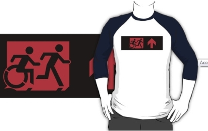 Accessible Means of Egress Icon Exit Sign Wheelchair Wheelie Running Man Symbol by Lee Wilson PWD Disability Emergency Evacuation Adult T-shirt 219