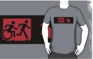 Accessible Means of Egress Icon Exit Sign Wheelchair Wheelie Running Man Symbol by Lee Wilson PWD Disability Emergency Evacuation Adult T-shirt 220