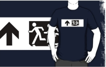 Accessible Means of Egress Icon Exit Sign Wheelchair Wheelie Running Man Symbol by Lee Wilson PWD Disability Emergency Evacuation Adult T-shirt 22