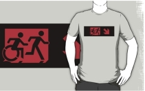 Accessible Means of Egress Icon Exit Sign Wheelchair Wheelie Running Man Symbol by Lee Wilson PWD Disability Emergency Evacuation Adult T-shirt 221