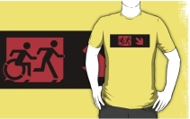 Accessible Means of Egress Icon Exit Sign Wheelchair Wheelie Running Man Symbol by Lee Wilson PWD Disability Emergency Evacuation Adult T-shirt 222