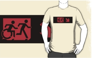 Accessible Means of Egress Icon Exit Sign Wheelchair Wheelie Running Man Symbol by Lee Wilson PWD Disability Emergency Evacuation Adult T-shirt 223