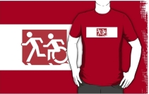 Accessible Means of Egress Icon Exit Sign Wheelchair Wheelie Running Man Symbol by Lee Wilson PWD Disability Emergency Evacuation Adult T-shirt 225