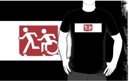 Accessible Means of Egress Icon Exit Sign Wheelchair Wheelie Running Man Symbol by Lee Wilson PWD Disability Emergency Evacuation Adult T-shirt 226