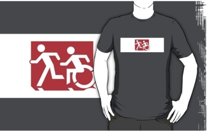 Accessible Means of Egress Icon Exit Sign Wheelchair Wheelie Running Man Symbol by Lee Wilson PWD Disability Emergency Evacuation Adult T-shirt 227