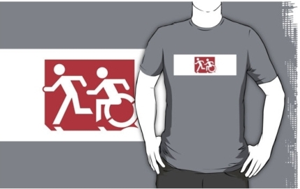 Accessible Means of Egress Icon Exit Sign Wheelchair Wheelie Running Man Symbol by Lee Wilson PWD Disability Emergency Evacuation Adult T-shirt 228