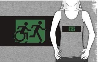 Accessible Means of Egress Icon Exit Sign Wheelchair Wheelie Running Man Symbol by Lee Wilson PWD Disability Emergency Evacuation Adult T-shirt 229