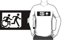 Accessible Means of Egress Icon Exit Sign Wheelchair Wheelie Running Man Symbol by Lee Wilson PWD Disability Emergency Evacuation Adult T-shirt 230