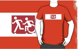 Accessible Means of Egress Icon Exit Sign Wheelchair Wheelie Running Man Symbol by Lee Wilson PWD Disability Emergency Evacuation Adult T-shirt 231