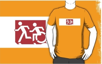 Accessible Means of Egress Icon Exit Sign Wheelchair Wheelie Running Man Symbol by Lee Wilson PWD Disability Emergency Evacuation Adult T-shirt 232