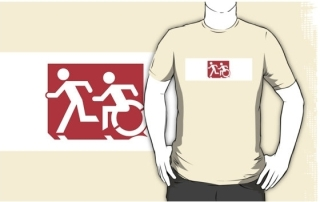Accessible Means of Egress Icon Exit Sign Wheelchair Wheelie Running Man Symbol by Lee Wilson PWD Disability Emergency Evacuation Adult T-shirt 233