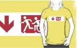 Accessible Means of Egress Icon Exit Sign Wheelchair Wheelie Running Man Symbol by Lee Wilson PWD Disability Emergency Evacuation Adult T-shirt 234
