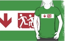 Accessible Means of Egress Icon Exit Sign Wheelchair Wheelie Running Man Symbol by Lee Wilson PWD Disability Emergency Evacuation Adult T-shirt 235