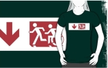 Accessible Means of Egress Icon Exit Sign Wheelchair Wheelie Running Man Symbol by Lee Wilson PWD Disability Emergency Evacuation Adult T-shirt 236