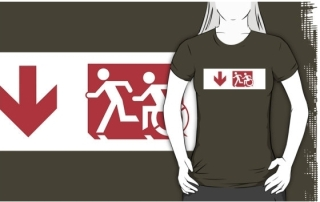 Accessible Means of Egress Icon Exit Sign Wheelchair Wheelie Running Man Symbol by Lee Wilson PWD Disability Emergency Evacuation Adult T-shirt 237
