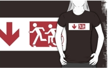 Accessible Means of Egress Icon Exit Sign Wheelchair Wheelie Running Man Symbol by Lee Wilson PWD Disability Emergency Evacuation Adult T-shirt 238