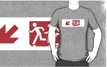 Accessible Means of Egress Icon Exit Sign Wheelchair Wheelie Running Man Symbol by Lee Wilson PWD Disability Emergency Evacuation Adult T-shirt 239