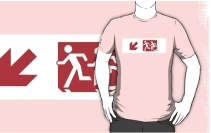Accessible Means of Egress Icon Exit Sign Wheelchair Wheelie Running Man Symbol by Lee Wilson PWD Disability Emergency Evacuation Adult T-shirt 240