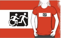 Accessible Means of Egress Icon Exit Sign Wheelchair Wheelie Running Man Symbol by Lee Wilson PWD Disability Emergency Evacuation Adult T-shirt 24