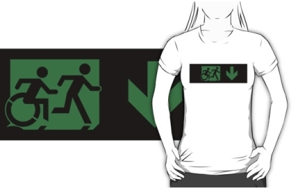 Accessible Means of Egress Icon Exit Sign Wheelchair Wheelie Running Man Symbol by Lee Wilson PWD Disability Emergency Evacuation Adult T-shirt 241