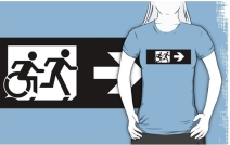 Accessible Means of Egress Icon Exit Sign Wheelchair Wheelie Running Man Symbol by Lee Wilson PWD Disability Emergency Evacuation Adult T-shirt 242