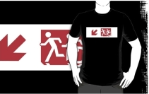 Accessible Means of Egress Icon Exit Sign Wheelchair Wheelie Running Man Symbol by Lee Wilson PWD Disability Emergency Evacuation Adult T-shirt 243
