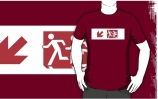 Accessible Means of Egress Icon Exit Sign Wheelchair Wheelie Running Man Symbol by Lee Wilson PWD Disability Emergency Evacuation Adult T-shirt 244