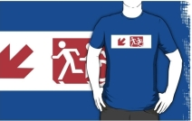 Accessible Means of Egress Icon Exit Sign Wheelchair Wheelie Running Man Symbol by Lee Wilson PWD Disability Emergency Evacuation Adult T-shirt 245
