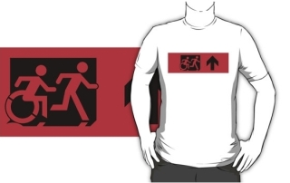 Accessible Means of Egress Icon Exit Sign Wheelchair Wheelie Running Man Symbol by Lee Wilson PWD Disability Emergency Evacuation Adult T-shirt 25