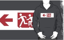Accessible Means of Egress Icon Exit Sign Wheelchair Wheelie Running Man Symbol by Lee Wilson PWD Disability Emergency Evacuation Adult T-shirt 252