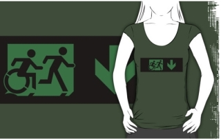 Accessible Means of Egress Icon Exit Sign Wheelchair Wheelie Running Man Symbol by Lee Wilson PWD Disability Emergency Evacuation Adult T-shirt 253