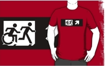 Accessible Means of Egress Icon Exit Sign Wheelchair Wheelie Running Man Symbol by Lee Wilson PWD Disability Emergency Evacuation Adult T-shirt 254