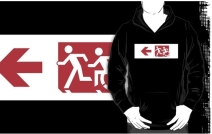 Accessible Means of Egress Icon Exit Sign Wheelchair Wheelie Running Man Symbol by Lee Wilson PWD Disability Emergency Evacuation Adult T-shirt 255