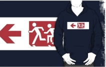Accessible Means of Egress Icon Exit Sign Wheelchair Wheelie Running Man Symbol by Lee Wilson PWD Disability Emergency Evacuation Adult T-shirt 256