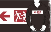 Accessible Means of Egress Icon Exit Sign Wheelchair Wheelie Running Man Symbol by Lee Wilson PWD Disability Emergency Evacuation Adult T-shirt 257