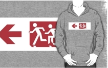 Accessible Means of Egress Icon Exit Sign Wheelchair Wheelie Running Man Symbol by Lee Wilson PWD Disability Emergency Evacuation Adult T-shirt 258