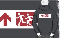 Accessible Means of Egress Icon Exit Sign Wheelchair Wheelie Running Man Symbol by Lee Wilson PWD Disability Emergency Evacuation Adult T-shirt 259