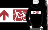 Accessible Means of Egress Icon Exit Sign Wheelchair Wheelie Running Man Symbol by Lee Wilson PWD Disability Emergency Evacuation Adult T-shirt 260