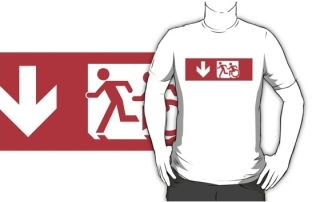 Accessible Means of Egress Icon Exit Sign Wheelchair Wheelie Running Man Symbol by Lee Wilson PWD Disability Emergency Evacuation Adult T-shirt 26