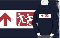 Accessible Means of Egress Icon Exit Sign Wheelchair Wheelie Running Man Symbol by Lee Wilson PWD Disability Emergency Evacuation Adult T-shirt 261
