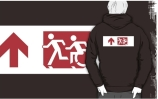 Accessible Means of Egress Icon Exit Sign Wheelchair Wheelie Running Man Symbol by Lee Wilson PWD Disability Emergency Evacuation Adult T-shirt 262