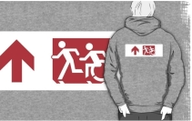 Accessible Means of Egress Icon Exit Sign Wheelchair Wheelie Running Man Symbol by Lee Wilson PWD Disability Emergency Evacuation Adult T-shirt 263