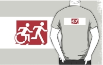 Accessible Means of Egress Icon Exit Sign Wheelchair Wheelie Running Man Symbol by Lee Wilson PWD Disability Emergency Evacuation Adult T-shirt 264