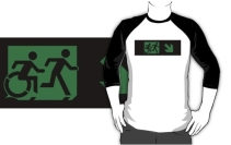 Accessible Means of Egress Icon Exit Sign Wheelchair Wheelie Running Man Symbol by Lee Wilson PWD Disability Emergency Evacuation Adult T-shirt 265