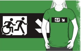 Accessible Means of Egress Icon Exit Sign Wheelchair Wheelie Running Man Symbol by Lee Wilson PWD Disability Emergency Evacuation Adult T-shirt 266