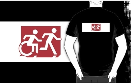 Accessible Means of Egress Icon Exit Sign Wheelchair Wheelie Running Man Symbol by Lee Wilson PWD Disability Emergency Evacuation Adult T-shirt 267