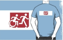 Accessible Means of Egress Icon Exit Sign Wheelchair Wheelie Running Man Symbol by Lee Wilson PWD Disability Emergency Evacuation Adult T-shirt 268